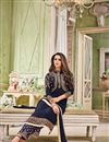 photo of Navy Blue Embroidered Georgette Straight Cut Churidar Suit With Koti
