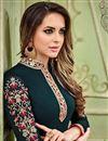 photo of Georgette Designer Teal Churidar Salwar Suit