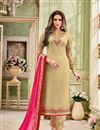 image of Cream Georgette Embellished Fancy Straight Churidar Dress