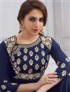 photo of Festive Special Wedding Function Wear Navy Blue Taffteta Silk Floor Length Readymade Anarkali Suit