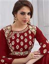 photo of Maroon Taffteta Silk Fancy Function Wear Designer Readymade Long Anarkali Dress
