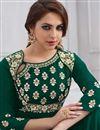 photo of Wedding Wear Dark Green Designer Taffteta Silk Floor Length Readymade Anarkali Suit