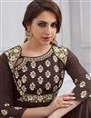photo of Designer Fancy Taffteta Silk Brown Floor Length Readymade Anarkali Suit
