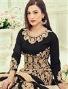 photo of Gauhar Khan Featuring Georgette Black Color Embroidered Long Length Anarkali