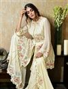 photo of Georgette Fabric Beige Color Sangeet Wear Pakistani Style Sharara Dress