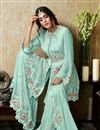photo of Eid Special Georgette Fabric Cyan Color Sangeet Wear Pakistani Style Sharara Dress