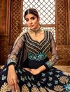 photo of Eid Special Georgette Embroidered Navy Blue Color Party Wear Anarkali Salwar Kameez