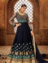 image of Eid Special Georgette Embroidered Navy Blue Color Party Wear Anarkali Salwar Kameez