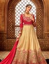image of Eid Special Embroidery Designs On Georgette Beige Color Function Wear Anarkali Salwar Suit