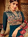 photo of Eid Special Embroidery Work On Georgette Teal Color Wedding Wear Anarkali Salwar Suit