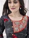 photo of Rayon Fabric Festive Wear Grey Designer Printed Readymade Gown