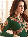 photo of Embroidery Designs On Art Silk Fabric Dark Green Wedding Wear Anarkali Salwar Suit