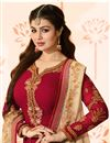 photo of Ayesha Takia Semistitched Churidar Suit In Georgette Fabric Red