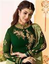 photo of Ayesha Takia Dark Green Color Georgette Fabric Straight Cut Semistitched Churidar Suit