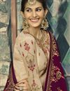 photo of Festive Special Georgette Function Wear Embroidered Beige Designer Sharara Suit