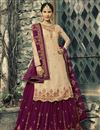 image of Festive Special Georgette Function Wear Embroidered Beige Designer Sharara Suit