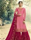 image of Festive Special Pink Function Wear Georgette Designer Embroidered Sharara Suit