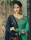photo of Function Wear Georgette Embroidered Designer Sharara Suit In Cyan