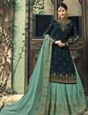 image of Function Wear Georgette Embroidered Designer Palazzo Suit In Navy Blue