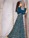 photo of Banglori Silk Party Wear Salwar Kameez In Teal With Embroidery Designs