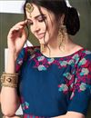 photo of Art Silk Fabric Sky Blue Party Wear Anarkali Suit With Embroidery Work