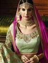 picture of Wedding Special Designer Wedding Function Wear Green Color Silk Fabric Fancy Embroidered Lehenga
