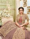 photo of Embroidered Net Chikoo Long Anarkali Dress