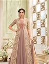 image of Embroidered Net Chikoo Long Anarkali Dress In Plus Size