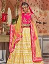 image of Eid Special Net Yellow Wedding Wear 3 Piece Lehenga Choli With Embroidery Work