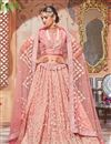 image of Pink Designer Bridal Lehenga With Embroidery Work On Net Fabric