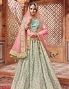 image of Net Sangeet Wear Lehenga With Embroidery Work In Cream