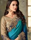 photo of Fancy Fabric Party Wear Saree In Navy Blue With Embroidery Work And Beautiful Blouse