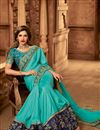 photo of Designer Cyan Color Art Silk Occasion Wear Border Work Saree