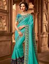 image of Designer Cyan Color Art Silk Occasion Wear Border Work Saree