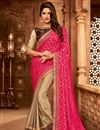 image of Pink And Beige Color Designer Ethnic Wear Art Silk Saree With Border Work