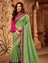 image of Designer Border Work Function Wear Green Color Art Silk Saree