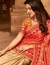 photo of Ethnic Wear Art Silk Border Work Designer Saree In Orange And Beige Color