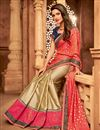 photo of Designer Border Work Function Wear Pink And Beige Color Art Silk Saree