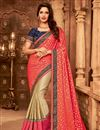image of Designer Border Work Function Wear Pink And Beige Color Art Silk Saree