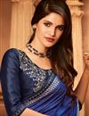 photo of Blue Color Designer Ethnic Wear Art Silk Saree With Border Work