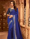 image of Eid Special Blue Color Designer Ethnic Wear Art Silk Saree With Border Work