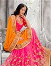 photo of Orange-Pink Color Wedding Wear Embroidered Silk Designer Saree