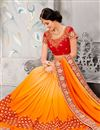 photo of Designer Wedding Wear Embroidered Orange Color Cotton-Silk Saree