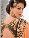 photo of Orange-Brown Color Wedding Wear Designer Georgette Saree with Embroidery