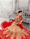 photo of Red-Beige Color Embroidered Designer Viscose Saree with Net Blouse