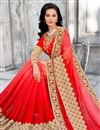 photo of Red Color Wedding Wear Embroidered Designer Jacquard Saree