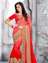 image of Red Color Wedding Wear Embroidered Designer Jacquard Saree