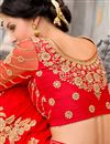 photo of Red Color Embroidered Designer Chiffon Saree for Wedding