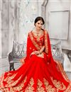 image of Red Color Embroidered Designer Chiffon Saree for Wedding