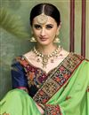 photo of Green Color Bridal Wear Embroidered Designer Saree In Silk Fabric